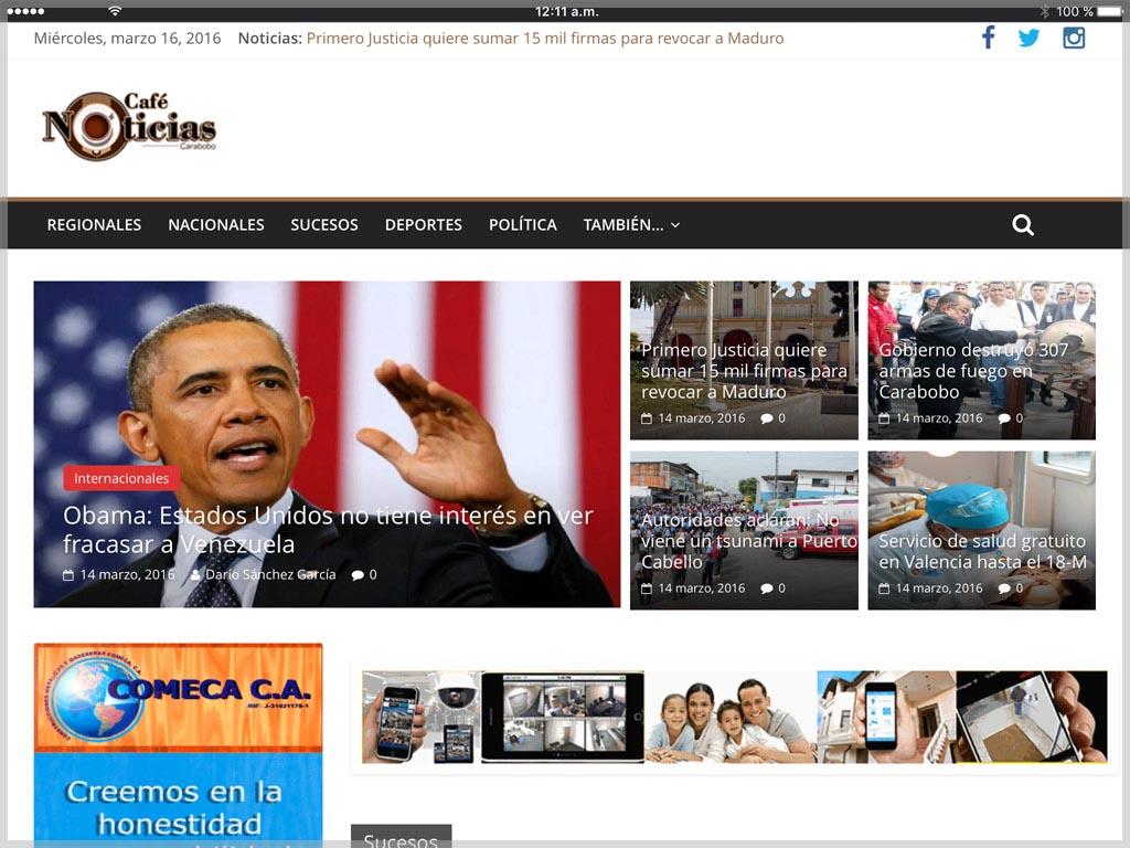 Web de Café Noticias Carabobo