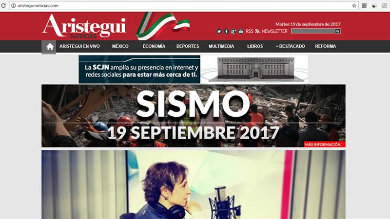 Aristegui, una famosa periodista mexicana, tiene su sitio web personal