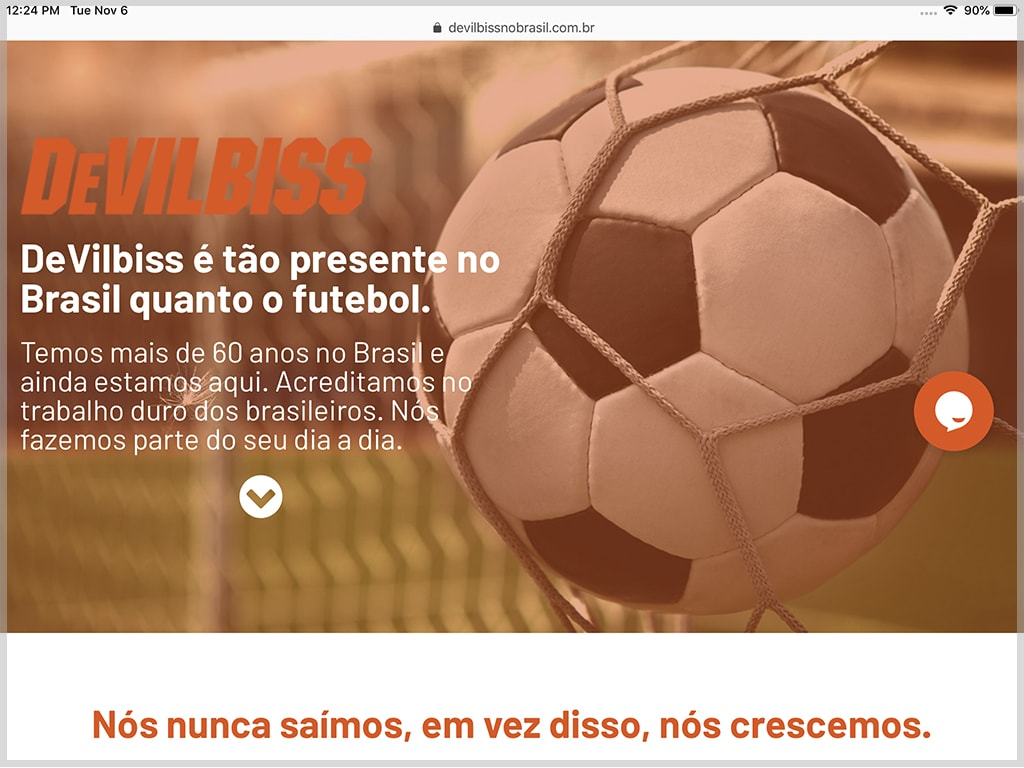 DeVilbiss no Brazil Website